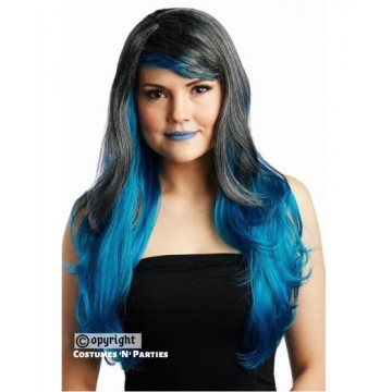 Blue and Black Wavy Ombre Wig