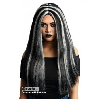 "Black with Silver Streak Witch Wig 22""L"