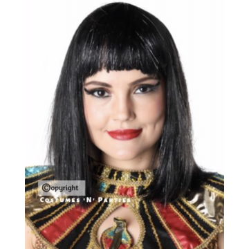 Queen Cleopatra Wig with Silver Tinsel