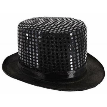 Black Sequin Top Hat