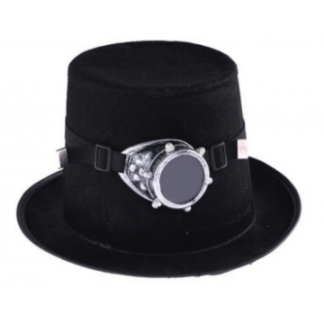 Steampunk Top Hat with Silver Goggles