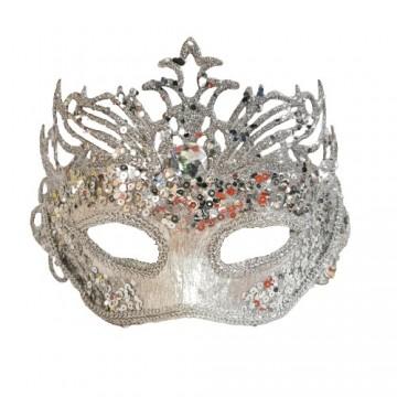 Silver Glittered Masquerade Eye Mask