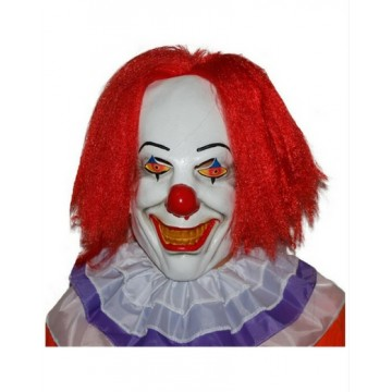 Killer Clown Mask with Red hair