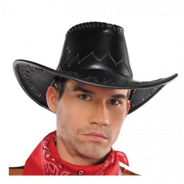 Black Leather Cowboy Hat