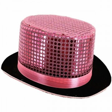 Pink Sequin Top Hat
