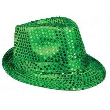 Sequin Fedora Hat - Green