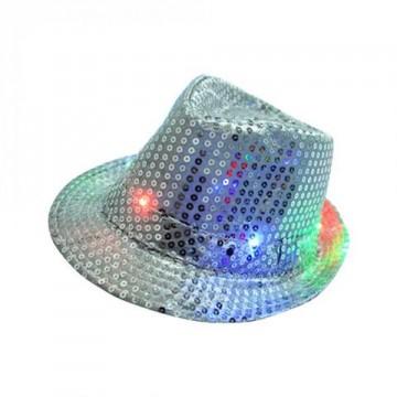 LED Sequin Fedora Hat - White